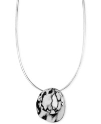 Jones New York Silver Tone Round Pendant Necklace