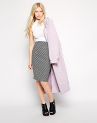 Traffic People Cloud Watching Jacquard Pencil Skirt Black