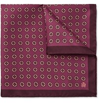 Dunhill Medallion Print Mulberry Silk Twill Pocket Square Burgundy