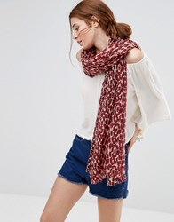 Ichi Printed Scarf Oxblood Red