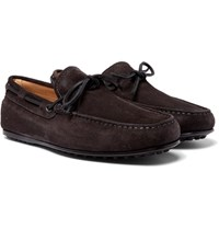 Tod's Gommino Suede Driving Shoes Gray