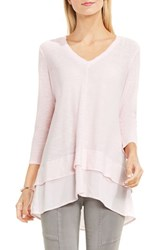 Vince Camuto Women's Two By Layered Look Top Pale Dahlia