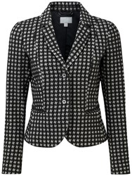 Pure Collection Deborah Cropped Ponte Jacket Black White Dogtooth