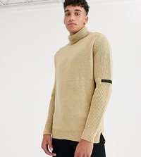 Religion Tall Chunky Knit Jumper With Roll Neck In Camel Tan