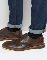 Frank Wright Textured Brogues In Brown Leather Brown