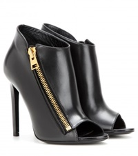 Tom Ford Open Toe Leather Ankle Boots Black