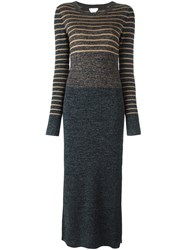 See By Chloe Marled Knit Maxi Dress Blue