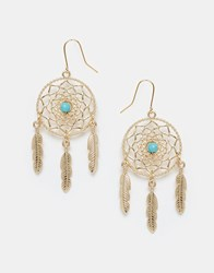 Asos Limited Edition Feather Catcher Earrings Blue