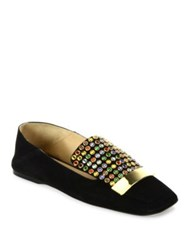 Sergio Rossi Sr1 Jeweled Suede Slippers Black Multi