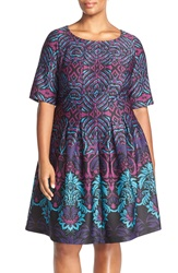 Gabby Skye Print Scuba Knit Fit And Flare Dress Plus Size Teal Multi