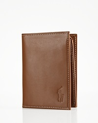 Polo Ralph Lauren Burnished Leather Window Billfold Wallet Brown