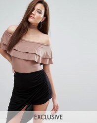 Club L Bardot Frill Body With Choker Detail Nude Pink