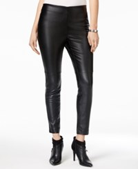 Bar Iii Faux Leather Pull On Pants Only At Macy's Deep Black