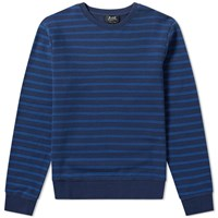 A.P.C. Stripe Crew Sweat Blue