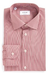 Eton Men's Big And Tall Contemporary Fit Check Dress Shirt Pink Red