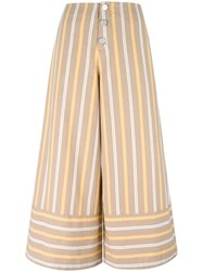 See By Chloe Striped Cropped Trousers Brown