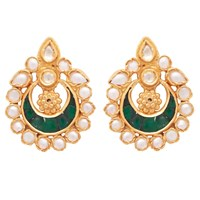 Carousel Jewels Dyed Green Crystal And Pearl Studs