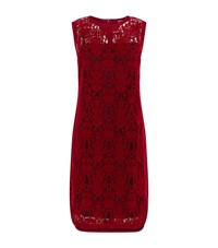 Dkny Sleeveless Hi Lo Lace Dress Female Red