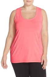 Zella Plus Size Women's Scooped Neck Racerback Tank Pink Splash