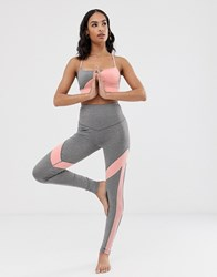 South Beach Grey And Pink Panel Legging