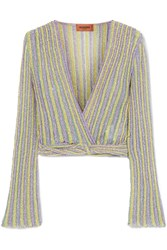Missoni Cropped Wrap Effect Metallic Striped Crochet Knit Top Lilac