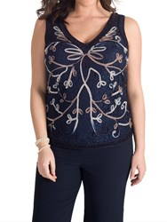 Chesca Cornelli Embroidered Lace Cami Navy Mink Ivory