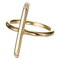 Delphine Leymarie Long Stick Ring 18K Yellow Gold And White Diamonds