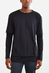 Feathers Double Layer Long Sleeve Tee Black