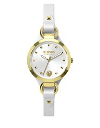 Versus By Versace Roslyn Goldtone Stainless Steel White Leather Strap Watch Som040015