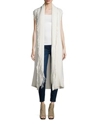 Ella Moss Maria Sleeveless Long Cardigan Sweater W Fringe Natural Tan