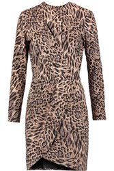 Michelle Mason Wrap Effect Leopard Print Crepe Mini Dress Leopard Print