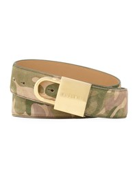 Buscemi Camouflage Print Lock Buckle Leather Belt Multi