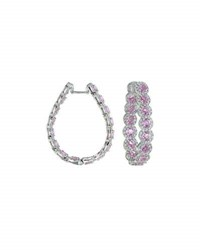 Diana M. Jewels 18K White Gold Pink Sapphire And Diamond Hoop Earrings 2.5Tcw