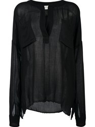 Faith Connexion Semi Sheer Blouse Black