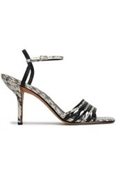 Diane Von Furstenberg Woman Federica Smooth And Snake Effect Leather Sandals Animal Print