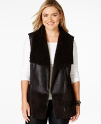 American Rag Plus Size Faux Fur Paneled Vest Only At Macy's Classic Black