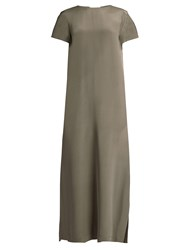 Raey Short Sleeved Silk Satin Maxi Dress Mid Grey