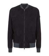 Boss Orange Perforated Suede Jacket Male Navy