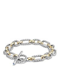 David Yurman Chain Cushion Link Bracelet With Blue Sapphires And 18K Gold Silver Gold
