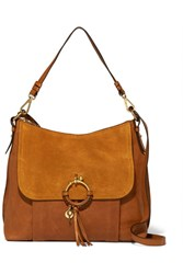 See By Chloe Joan Medium Textured Leather And Suede Shoulder Bag Tan