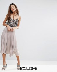 Warehouse Lame Pleated Skirt Mink Brown