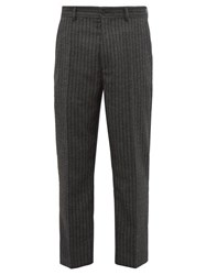 Hope Striped Herringbone Twill Slim Leg Trousers Grey