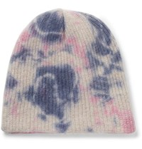 The Elder Statesman Watchman Tie Dyed Ribbed Cashmere Beanie Pink