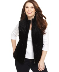Charter Club Plus Size Reversible Faux Wool Quilted Vest