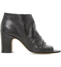 Dune Ivory Leather Peep Toe Ankle Boots Black Leather