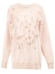 Faith Connexion Ruffled Applique Sweatshirt Pink And Purple