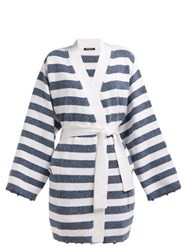 Balmain Sequinned Striped Knit Cardigan Blue White