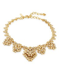 Oscar De La Renta Goldtone Crystal Cluster Collar Necklace Red