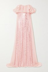 Jenny Packham Marguerite Strapless Ruffled Organza And Sequin Embellished Tulle Gown Pastel Pink