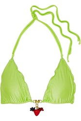 Agent Provocateur Berry Embellished Bikini Top Lime Green